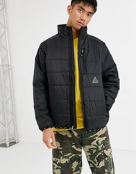 Huf Geode Puffer Jacket With Logo Taping In Black