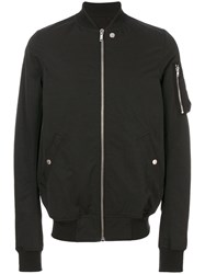 Rick Owens Zip Detail Bomber Jacket Cotton Polyamide Cupro Black