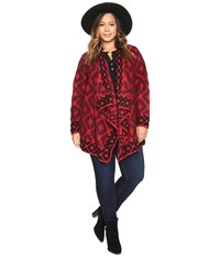 Lucky Brand Plus Size Aztec Wrap Red Multi Women's Clothing