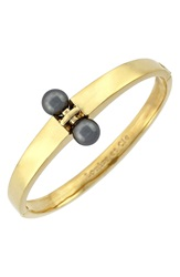 Louise Et Cie Faux Pearl Bangle Gold Grey Pearl