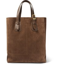 Tom Ford North West Leather Trimmed Suede Tote Bag Brown