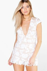 Boohoo Zoe Crochet Lace Plunge Neck Playsuit White