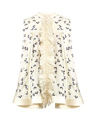 Roksanda Ilincic Charwood Ruffle Trimmed Parsley Print Silk Blouse Ivory Multi