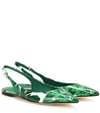 Dolce And Gabbana Printed Patent Leather Slingback Ballerinas Green