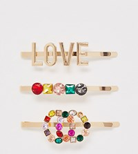 Aldo Devoa Rainbow Colour Love And Diamante 3 Clip Multipack Gold