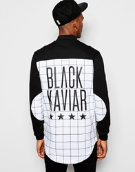 Black Kaviar Longline Checked Shirt With Back Print White
