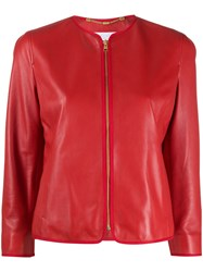 Escada Sport Leather Cropped Sleeve Jacket Red