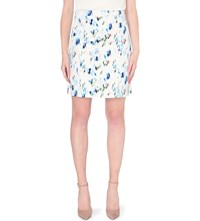 Reiss Nelly Abstract Print Stretch Cotton Skirt Royal Blue Neut