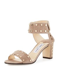 Jimmy Choo Veto Studded Suede City Sandal Brown Gold