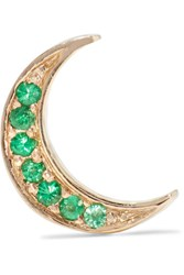 Andrea Fohrman Mini Crescent 14 Karat Gold Emerald Earring One Size