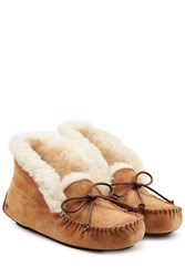 Ugg Australia Suede And Sheepskin Slippers Brown