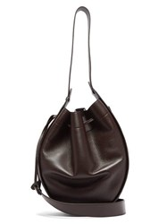 The Row Xl Drawstring Grained Leather Bag Burgundy