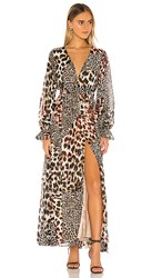 The Jetset Diaries Nine Lives Maxi Dress In Brown. Nine Lives Animal Print