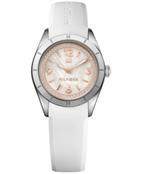 Tommy Hilfiger Women's White Silicone Strap Watch 30Mm 1781549 No Color