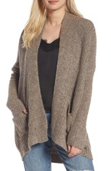 Dreamers By Debut Rib Knit Open Cardigan Mocha