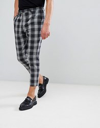 Noose And Monkey Tapered Cropped Check Pants Gray
