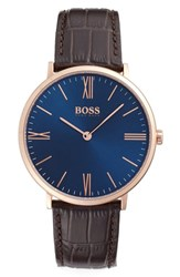 Boss Men's Slim Jackson Leather Strap Watch 40Mm