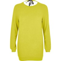 River Island Womens Bright Yellow Tie Back Knit Jumper