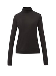 Joseph Logo Embroidered Roll Neck Silk Sweater Black