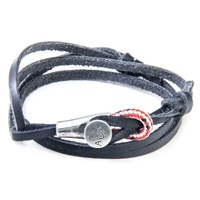Anchor And Crew Dundee Leather Silver Braceletblack