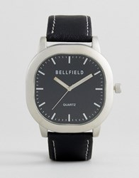 Bellfield Watch With Black Strap And Silver Case
