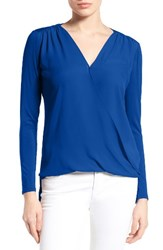 Vince Camuto Women's Georgette And Jersey Faux Wrap Blouse Cobalt Blue