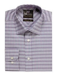 Skopes Check Classic Fit Long Sleeve Formal Shirt Purple