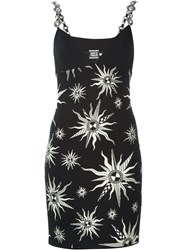 Fausto Puglisi Embellished Strap Sun Intarsia Dress Black