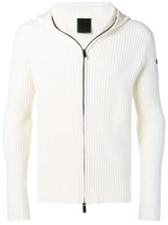 Rrd Ribbed Knit Zip Front Hoodie White