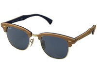 Ray Ban Clubmaster 51Mm Cherry Wood Rubber Blue Fashion Sunglasses Brown