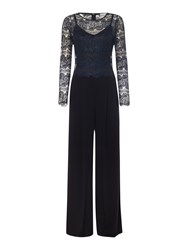 Body Frock The Jessie Long Sleeve Lace Top Jumpsuit Navy