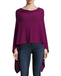 Minnie Rose Cashmere Cowl Neck Asymmetric Hem Poncho Grape Vine