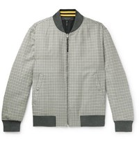 Rag And Bone Manston Reversible Houndstooth Cotton Wool Blend Bomber Jacket Gray