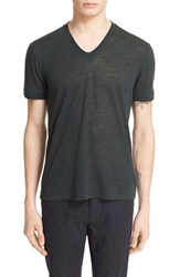 John Varvatos Men's Collection Burnout Linen V Neck T Shirt Juniper Green