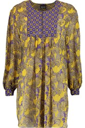 Just Cavalli Pleated Printed Silk Georgette Tunic Yellow