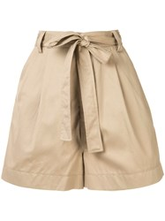 Markus Lupfer High Waisted Belted Shorts Brown