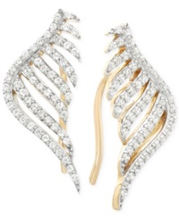 Wrapped In Love Diamond Leaf Ear Cuff Earrings 1 10 Ct. T.W. In 10K Yellow Gold No Color