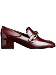 Burberry Link Detail Patent Leather Block Heel Loafers Red