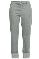 Brunello Cucinelli Woman Cropped Mid Rise Straight Leg Jeans Grey Green