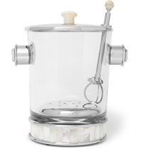 Lorenzi Milano Glass Silver Tone And Mother Of Pearl Ice Bucket And Tongs Clear