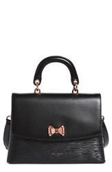 Ted Baker London Lady Bow Flap Top Handle Leather Satchel Black
