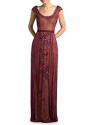 Basix Ii Beaded Capsleeve Gown Burgundy