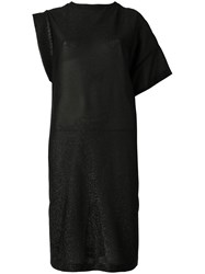 Nude Sparkly Knit Asymmetric Dress Black