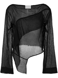 Lost And Found Rooms Long Sleeve Draped Blouse Black