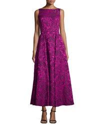 Badgley Mischka Sleeveless Floral Lace Tea Length Dress
