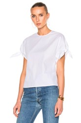 Rosetta Getty Cotton Poplin Wrap Sleeve Shirt In White
