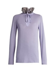 Sonia Rykiel Ruffle Neck Wool And Cashmere Blend Sweater Light Purple