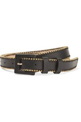 Oscar De La Renta Studded Leather Waist Belt Black