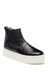 Marc Jacobs Vesey Reptile Embossed Leather Platform Hi Top Sneaker Black