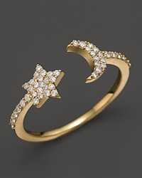 Meira T 14K Yellow Gold Moon And Star Ring With Diamonds White Gold